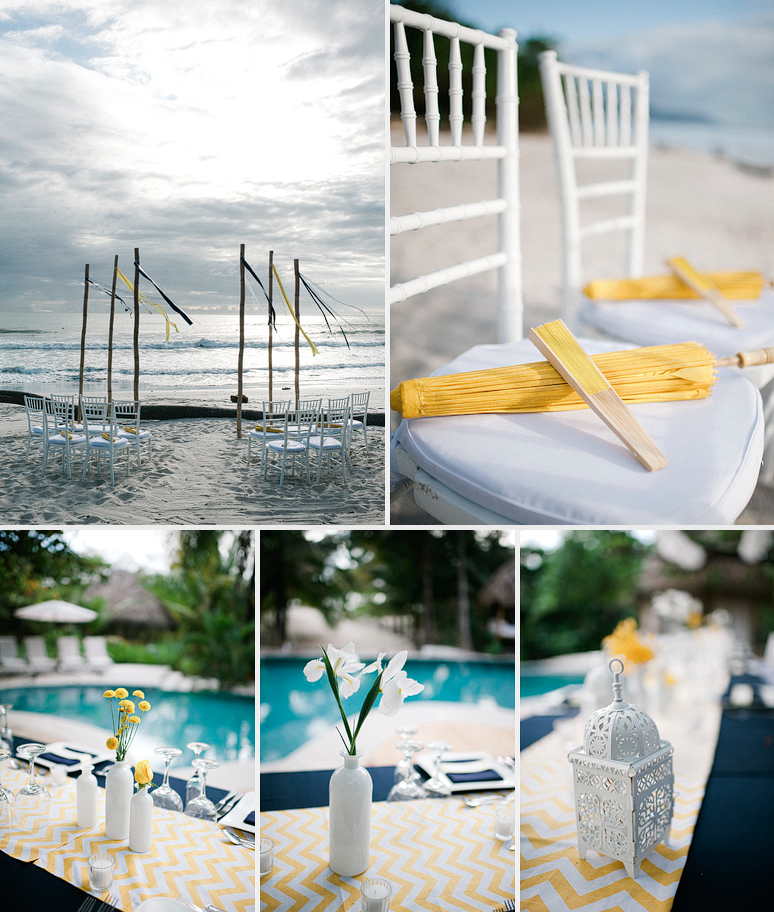 Yellow, white and Blue wedding